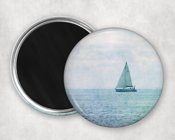 Runder Magnet Segelboot blau Button 55mm
